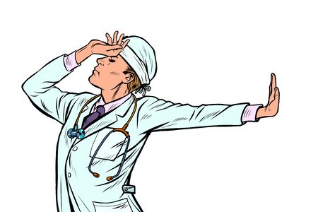 Caucasian doctor man medicine. shame, denial gesture, no. Pop art retro vector Illustrator vintage kitsch drawing Illustration