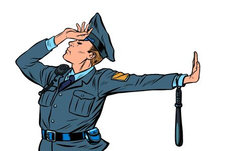 Caucasian police officer shame denial gesture no. Pop art retro vector Illustrator vintage kitsch drawing Ilustração