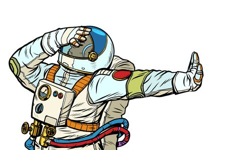 Astronaut in a spacesuit. Gesture of denial, shame, no