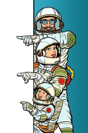 Familienastronauten Mama Papa und Sohn. Zeigen Sie, um das Weltraumplakat zu kopieren Vektorgrafik
