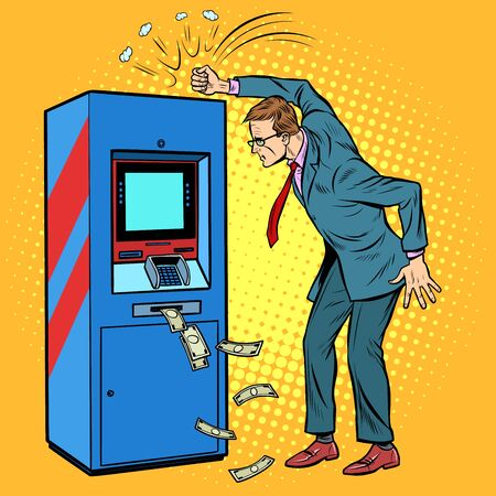 the damaged ATM and the angry man. Pop art retro vector illustration drawing