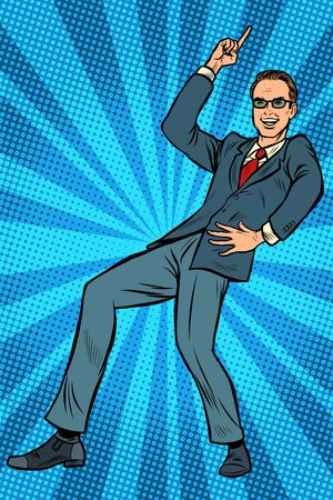 Dancing businessman. Disco dance club music. Pop art retro vector illustration drawing