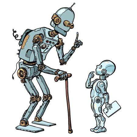 vecchio e nuovo robot. Disegno di illustrazione vettoriale retrò pop art