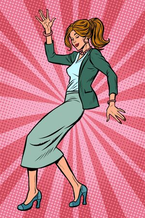 Dancing business woman. Disco dance club music. Pop art retro vector illustration drawing