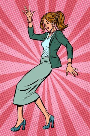 Dancing business woman. Disco dance club music. Pop art retro vector illustration drawing