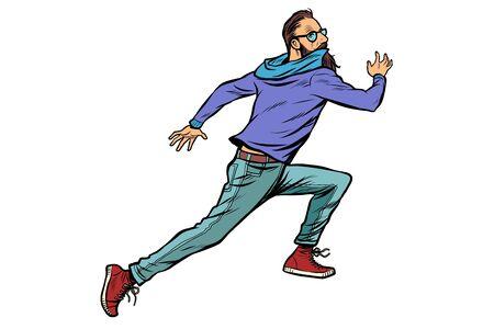 scared hipster runs. Pop art retro vector illustration drawing