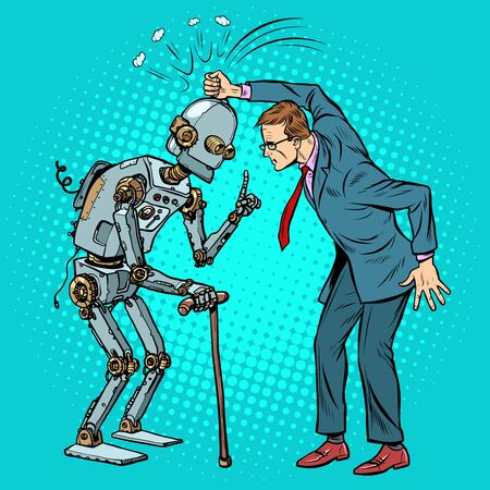 man versus old robot. Pop art retro vector illustration drawing