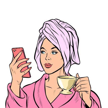 woman morning bathroom coffee smartphone. Pop art retro vector illustration drawing