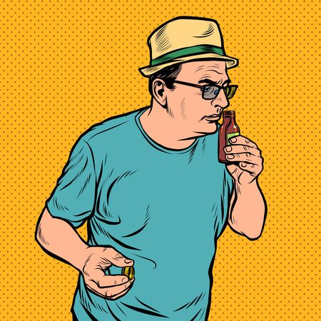 a man sniffs a bottle. perfume or medicine. Pop art retro vector illustration drawing Ilustracja
