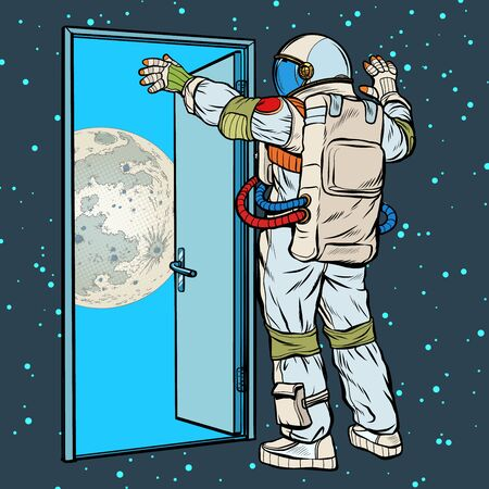 astronaut opens the arms of the moon
