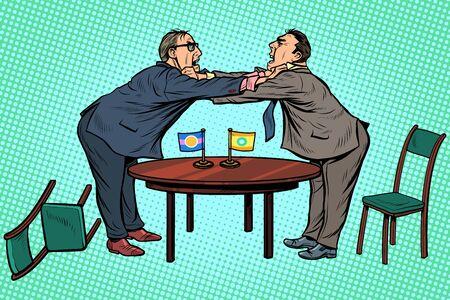 beleidsdiplomatie en onderhandelingen. Vecht tegen tegenstanders