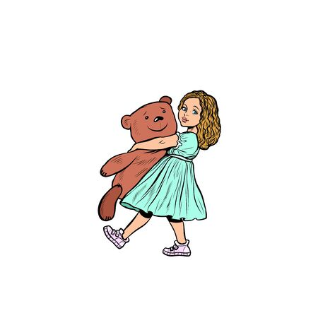 little girl and toy bear. Pop art retro vector illustration drawing