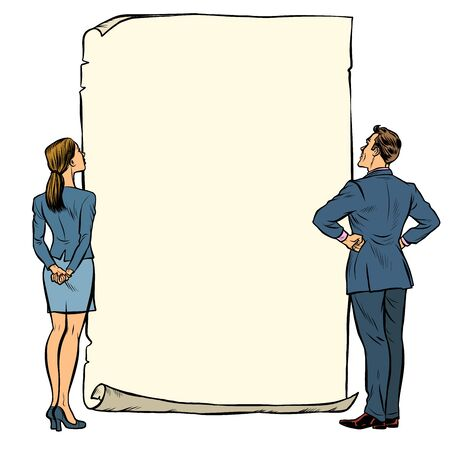 man and woman blank banner. Pop art retro vector illustration drawing