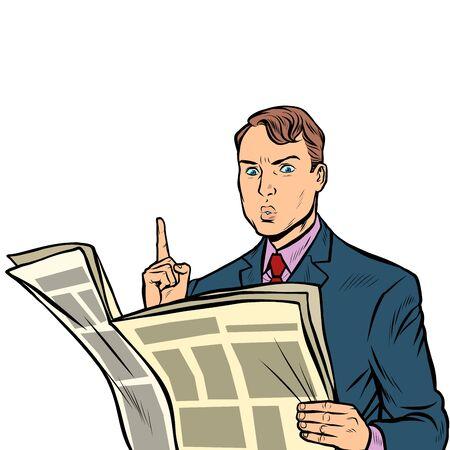 attention. man reading a newspaper. Pop art retro vector illustration drawing Illustration