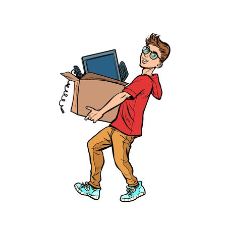 boy desktop computer. Delivery and purchase. Pop art retro vector illustration drawing