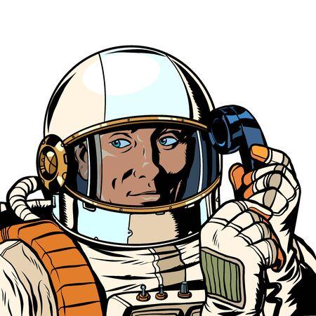 serious astronaut talking on a retro phone. isolate on white background. Pop art retro vector illustration drawing Illusztráció