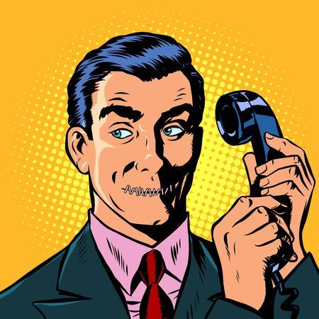 mouth shut. serious man talking on a retro phone. Pop art retro vector illustration drawing