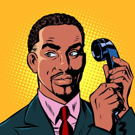 serious african man talking on a retro phone. Pop art retro vector illustration drawing