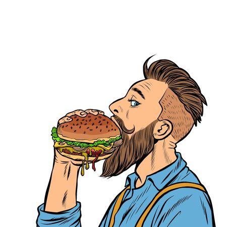 hipster man eating Burger. Pop art retro vector stock illustration drawing
