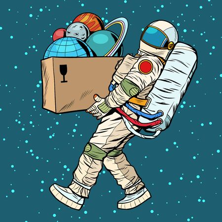 space exploration concept. astronaut takes the planet in a box. Pop art retro vector stock illustration drawing