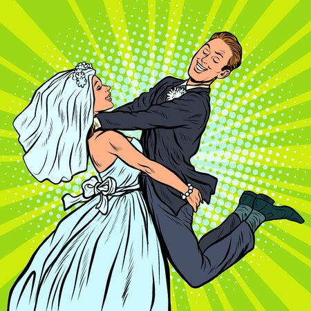 wedding. happy loving bride and groom. woman carries man. Pop art retro vector illustration drawing Illustration