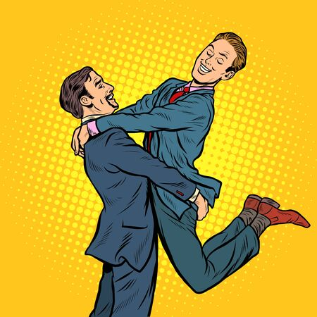 gay couple in love. Pop art retro vector illustration drawing Ilustração