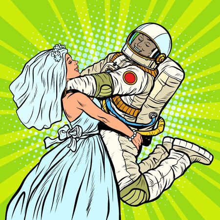 bride and groom at the wedding. astronaut and his wife. Pop art retro vector illustration drawing