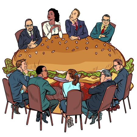 a group of people in a restaurant. Burger fast food. Pop art retro vector illustration drawing
