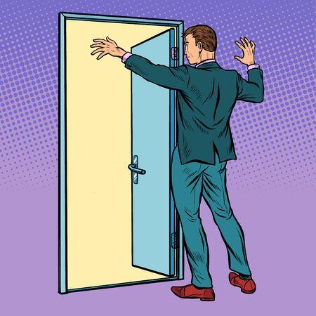 A man opens the door, greeting. Pop art retro vector illustration drawing