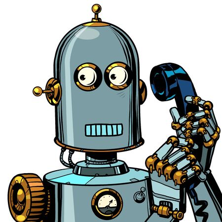 scared funny robot talking on a retro phone. isolate on white background. Pop art retro vector illustration drawing