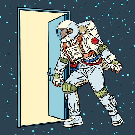 astronaut opens the door to space. Pop art retro vector stock illustration drawing