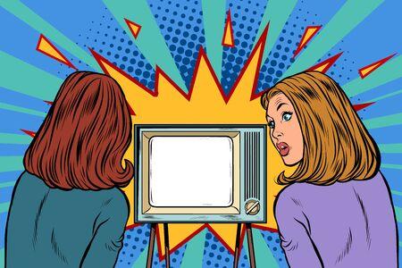 Dwie dziewczyny oglądają telewizję. Biznesmenka. Pop-art retro wektor ilustracja rysunek