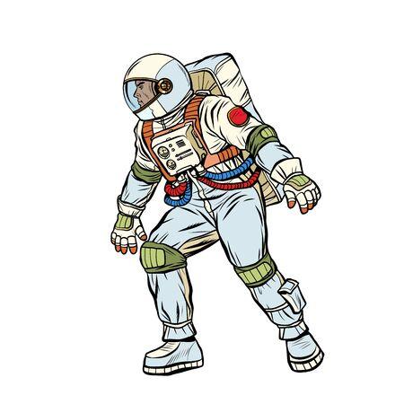 astronaut step forward. space exploration. Pop art retro vector stock illustration drawing