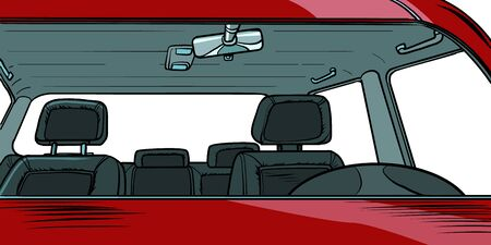 car interior without people. Pop art retro vector illustration drawing
