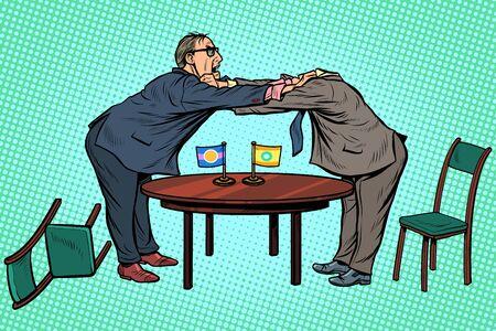 Politikdiplomatie und Verhandlungen mit kopflosem Muster. Bekämpfe Gegner. Pop-Art Retro-Vektor-Illustration-Zeichnung Vektorgrafik