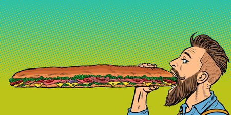 Mann isst ein langes Sandwich. Pop-Art-Retro-Vektor-Lager-Illustrationszeichnung