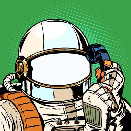L'astronaute parle au téléphone. modèle de combinaison spatiale vide. Dessin d'illustration vectorielle rétro pop art