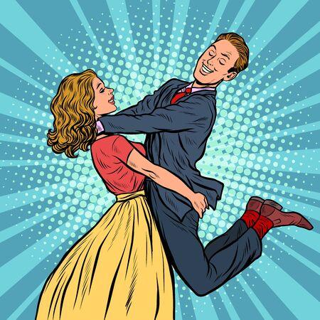 incontrare gli amanti. uomo e donna abbracci. la ragazza porta un ragazzo. Disegno di illustrazione vettoriale retrò pop art Vettoriali