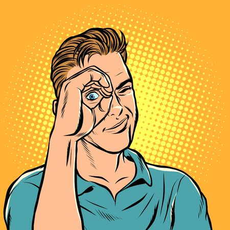 man look telescope hand. Pop art retro vector illustration drawing Ilustrace