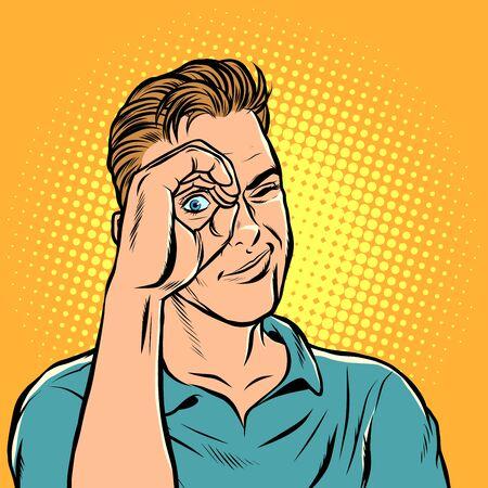man look telescope hand. Pop art retro vector illustration drawing Illustration
