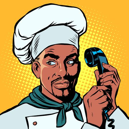 Food delivery. African Chef takes orders by phone. Pop art retro vector illustration drawing Stock Illustratie