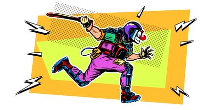 riot police with a baton. clown mask. Pop art retro vector illustration drawing