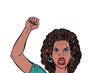 manifestante enojado mujer africana, rally resistencia libertad democracia. Dibujo de ilustración de vector retro pop art