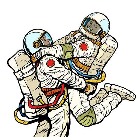 couple in love astronaut man and woman. love romance hugs. Pop art retro vector illustration drawing Illustration