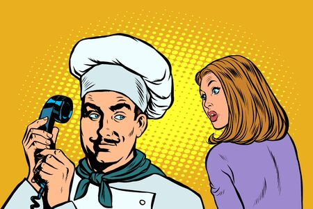 chef on the phone, a woman client listens. Pop art retro vector illustration drawing