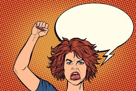 femme manifestante en colère, rallye résistance liberté démocratie. Dessin d'illustration vectorielle rétro pop art Vecteurs