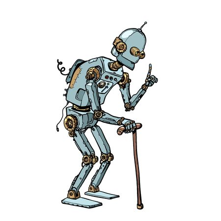 very old robot man with a stick. Pop art retro vector illustration drawing