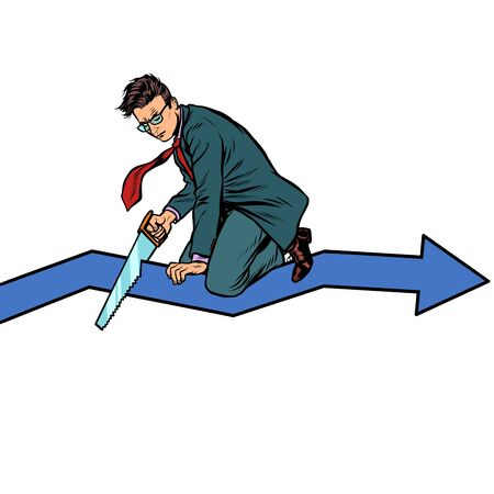 businessman sawing curve graph. self-destruction stupidity and bankruptcy. incompetence. Pop art retro vector illustration drawing