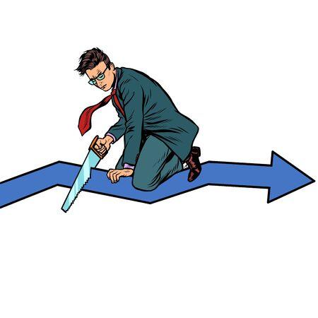 Geschäftsmann Sägen Kurvendiagramm. Selbstzerstörung Dummheit und Bankrott. Inkompetenz. Pop-Art Retro-Vektor-Illustration-Zeichnung Vektorgrafik