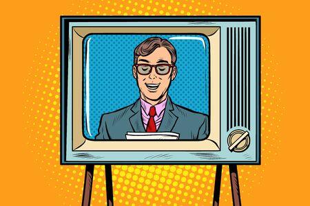 Prezenter wiadomości telewizyjnych. Pop-art retro wektor ilustracja rysunek